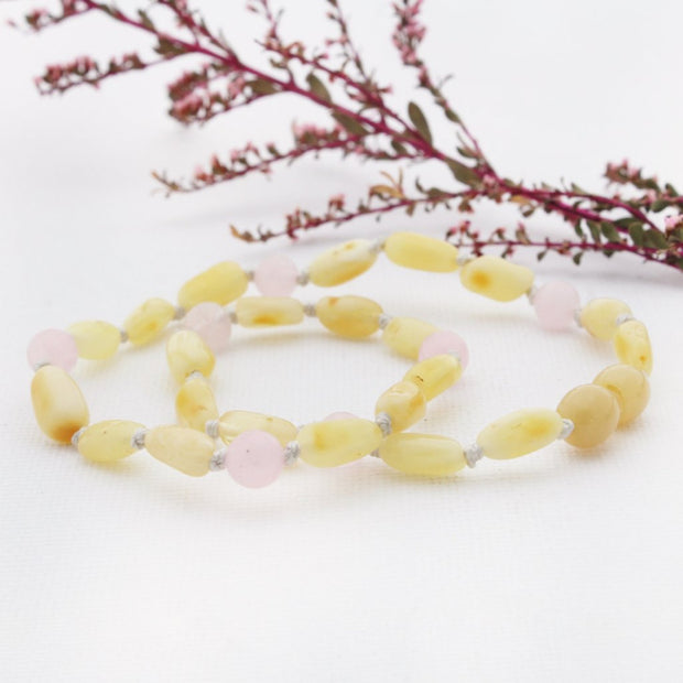 Butter Amber Necklace with Rose Quartz 1