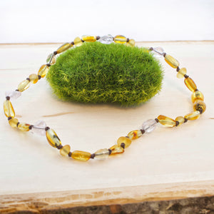 Baltic Amber Teething Necklace | Honey Amber + Ametrine