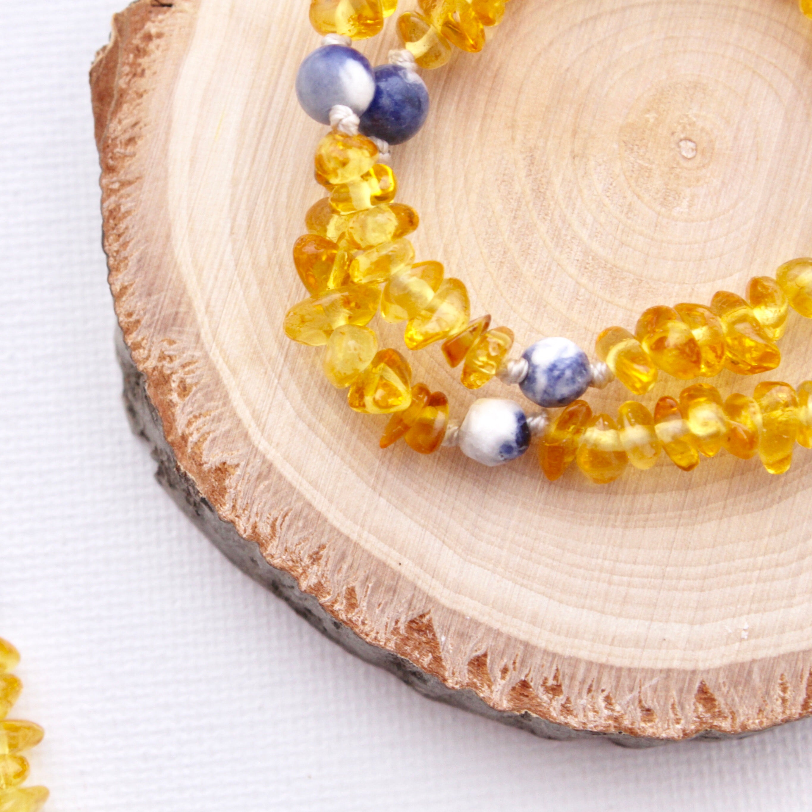 Mini and Me Amber Necklace Set | Lemon Amber with Sodalite