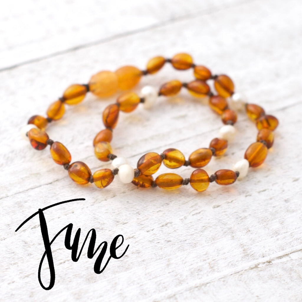 June Birthstone Necklace | Amber and Pearl Necklace | Baltic Amber Necklace