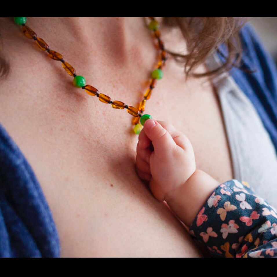 Amber Breastfeeding Necklace with Watermelon Jasper
