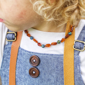 Baltic Amber Teething Necklace | Cognac Amber + Metallic Waters Druzy