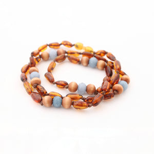 Breastfeeding Necklace - Sensory Necklace - Cognac Amber with Wood and Angelite Beads