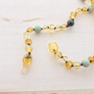 Amber Teething Necklace | Lemon & Honey Amber + Green Grass Turquoise