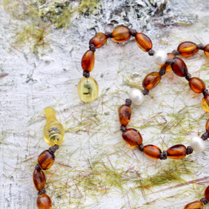 Cognac Amber Teething Necklace with Natural Pearls