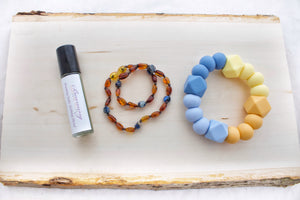 Baltic Amber Teething Necklace | Cognac Amber + Sodalite