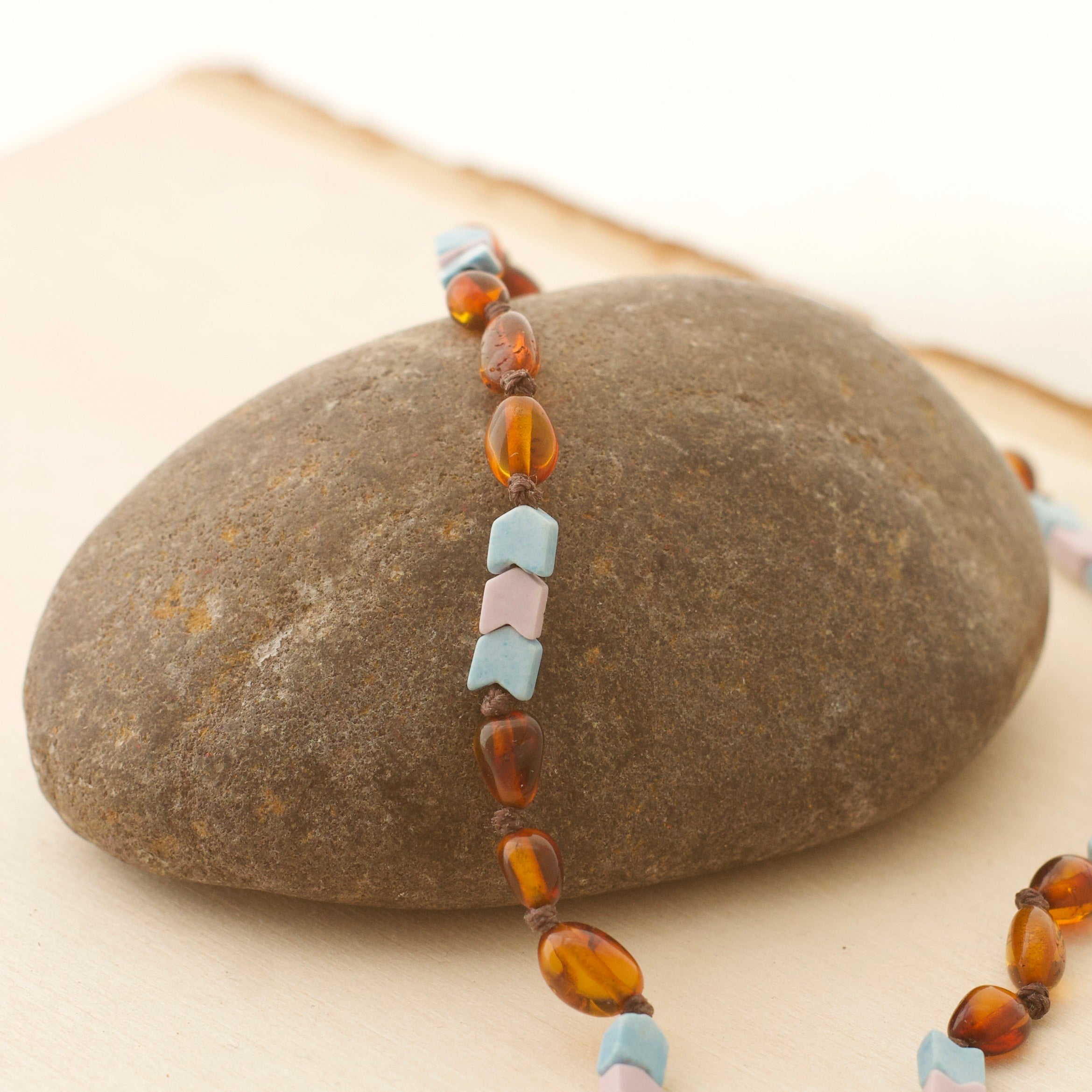 Chevron Denim Blue & Lavender Agate + Cognac Amber Necklace