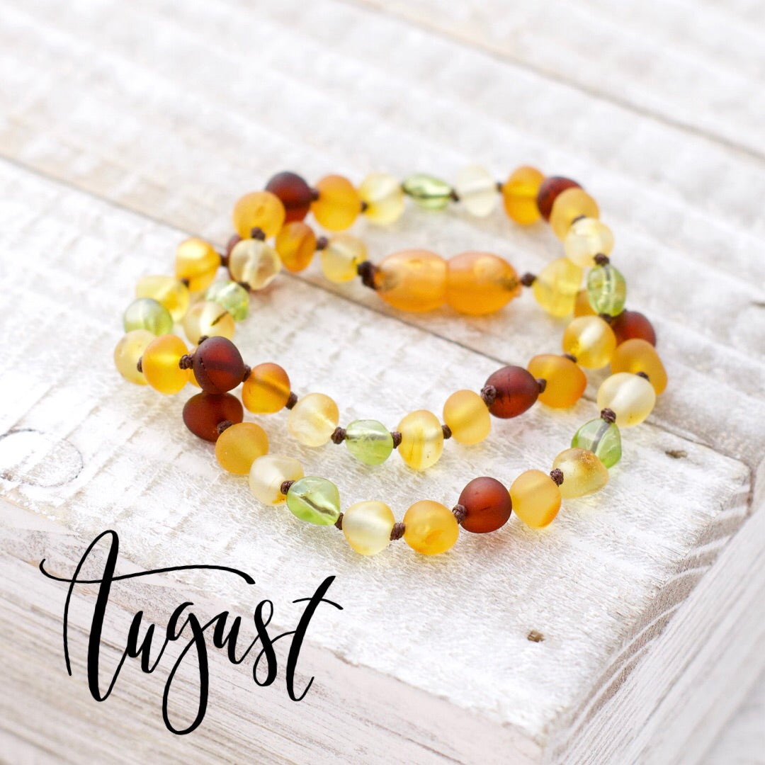 August Birthstone Necklace | Amber and Peridot Necklace | Baltic Amber Necklace