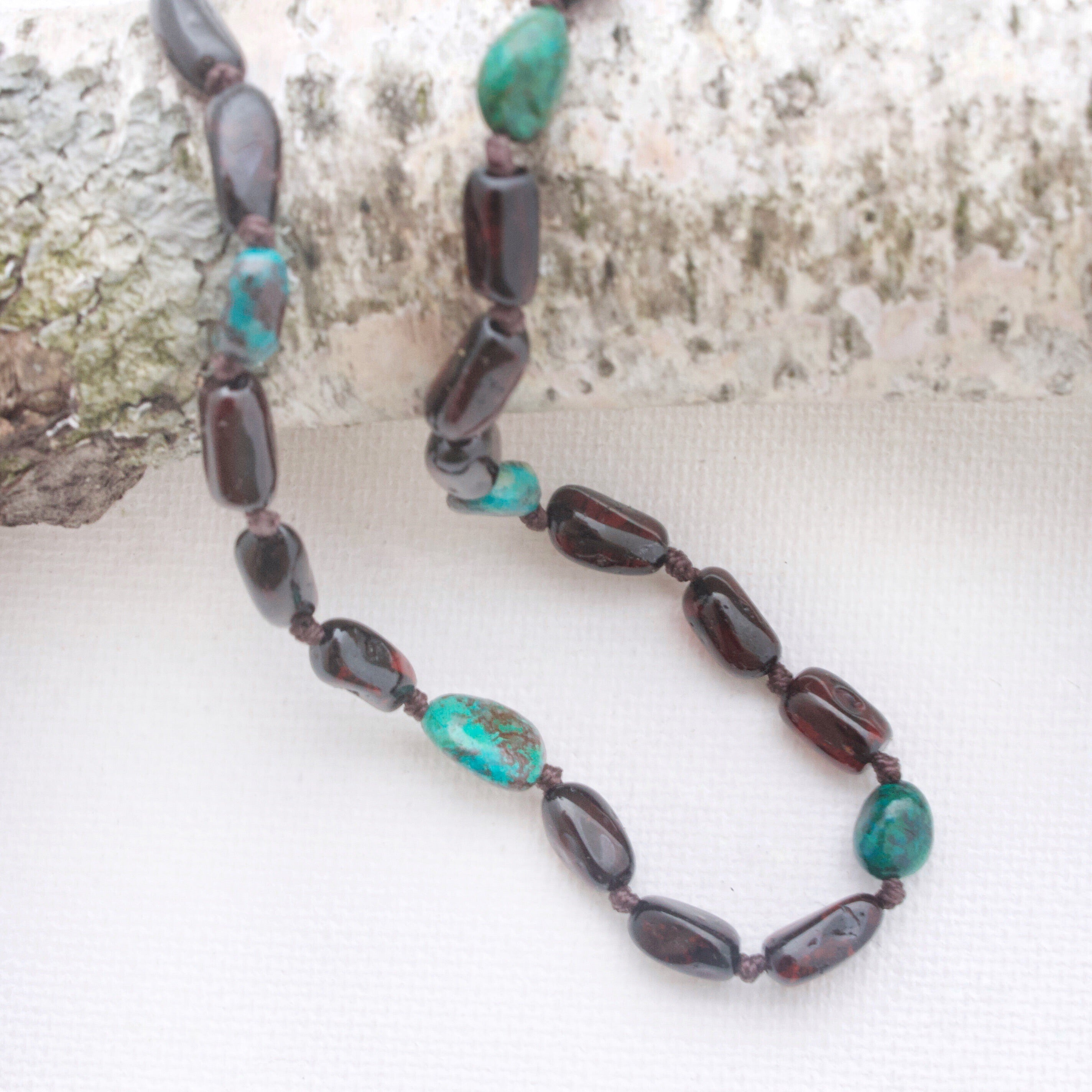Baltic Amber Teething Necklace | Cherry Amber + Azurite Malachite