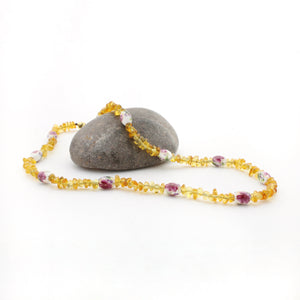 Matching Amber Necklace Set | Honey Amber + Pink Floral Beads