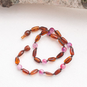 Amber Teething Necklace | Cognac Amber + Candy Jade