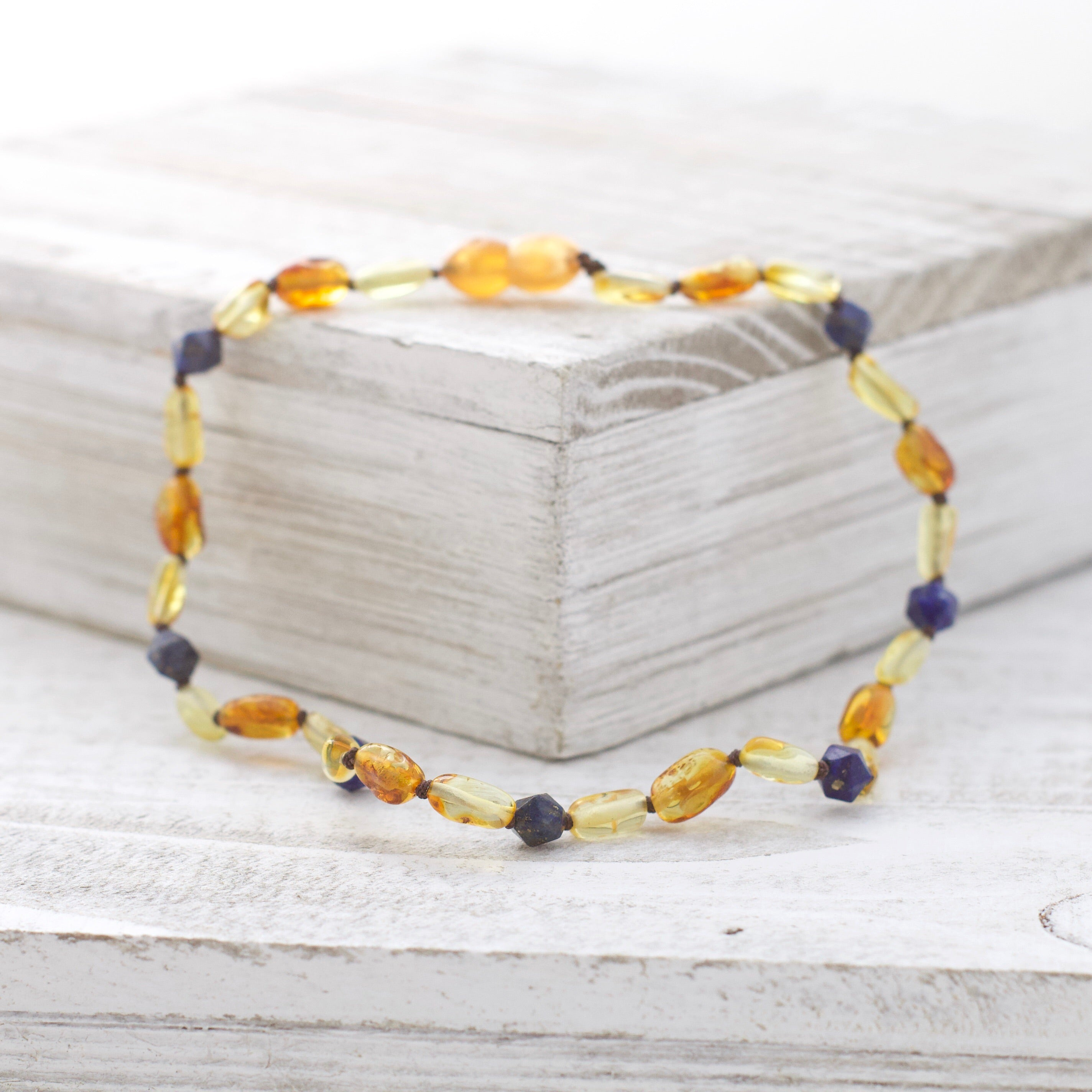 September Birthstone Necklace | Amber and Lapis Lazuli Necklace | Baltic Amber Teething Necklace
