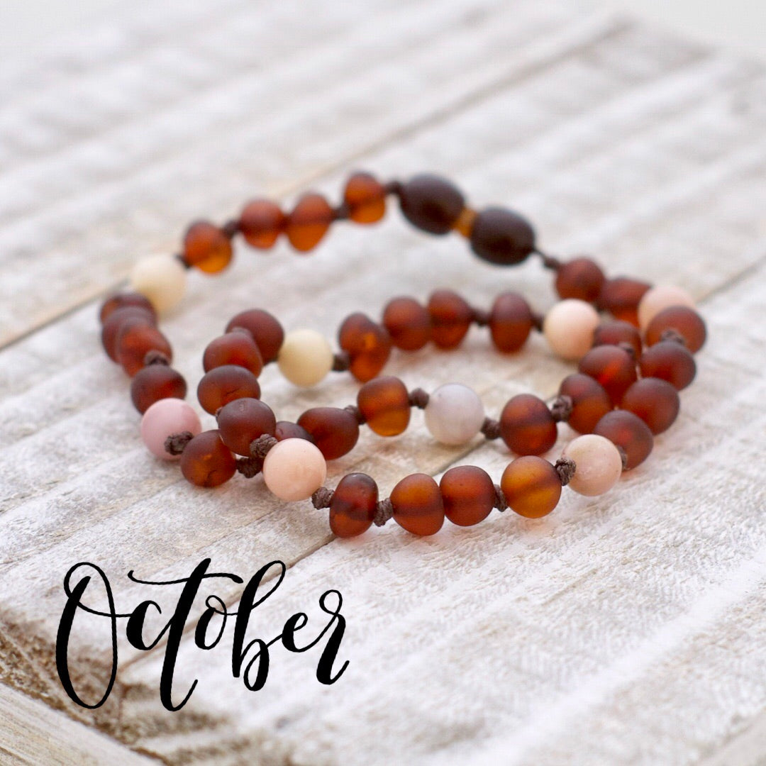 October Birthstone Necklace | Amber and Pink Opal Necklace | Amber Necklace