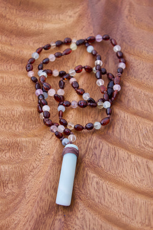 Cherry Amber + Multi Stone + Amazonite Pendant Sensory Necklace