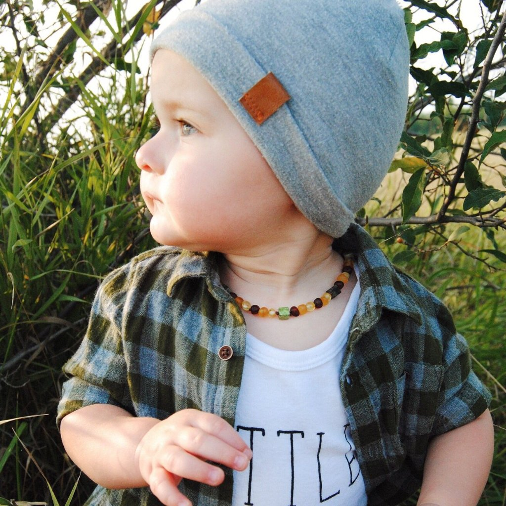 Amber Teething Necklace | Mixed Amber + Chrysoprase