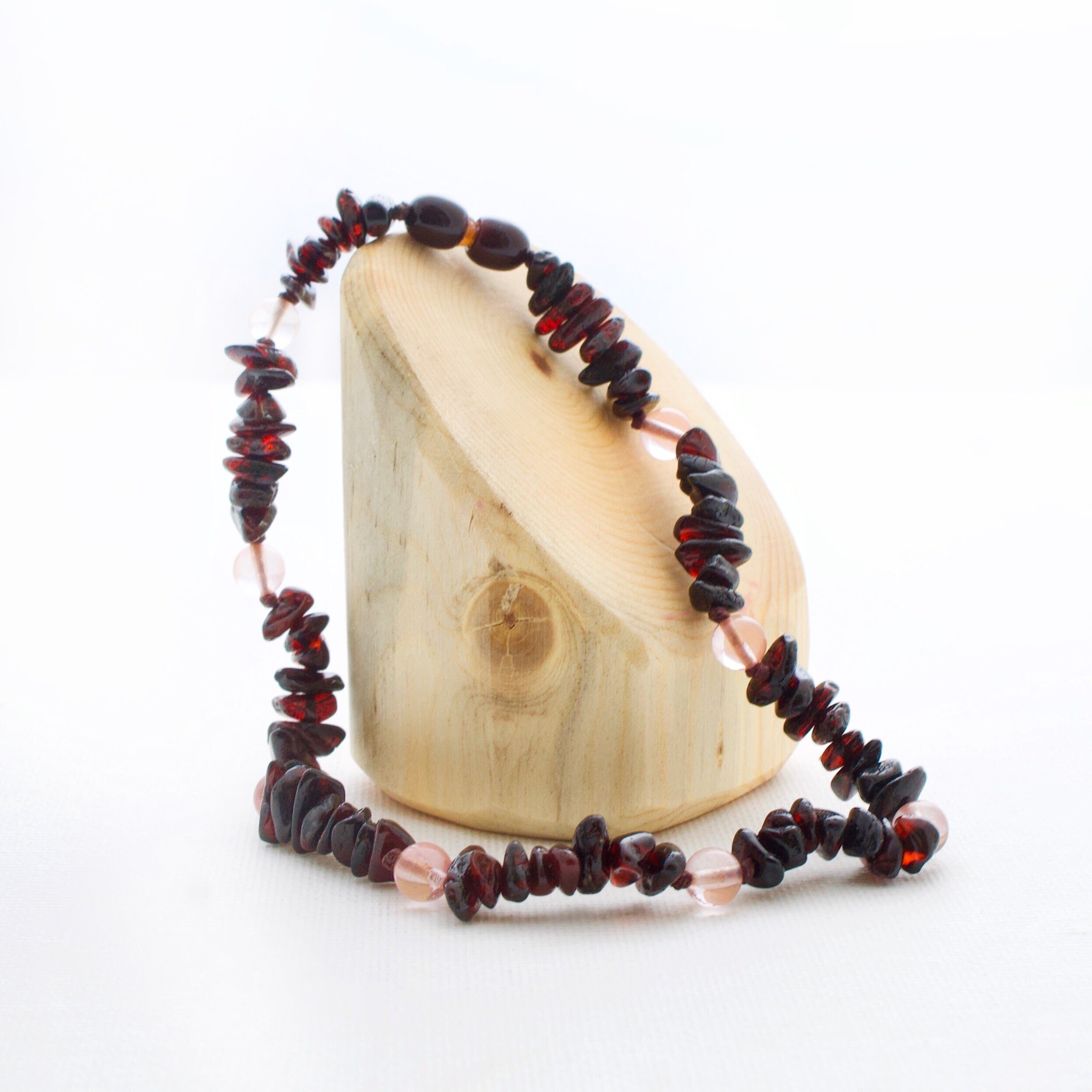 Amber Teething Necklace | Cherry Amber + Cherry Quartz