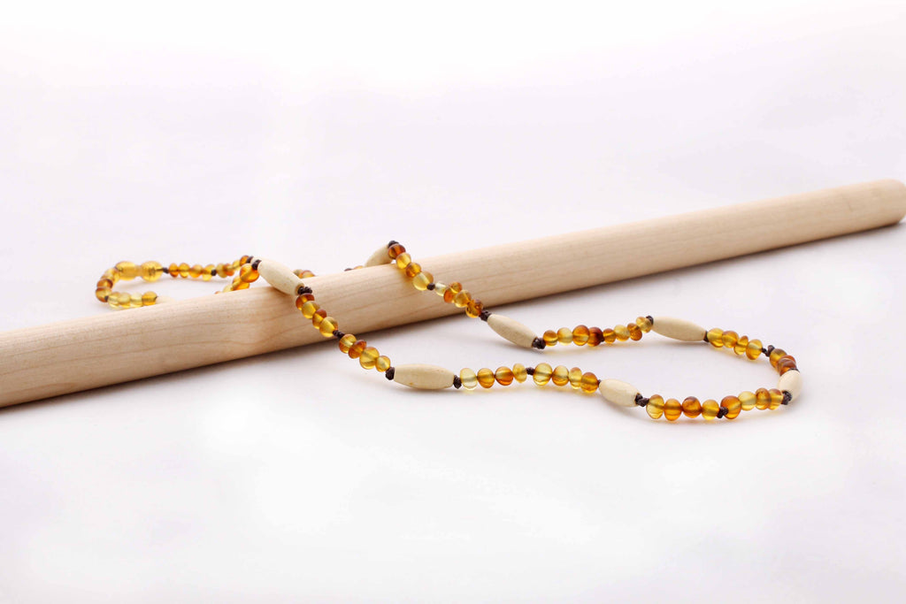 Frosted Honey Amber + Natural Wood Beads | Adult Amber Necklace