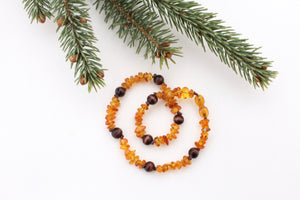 Amber Teething Necklace + Chocolate Wood Beads