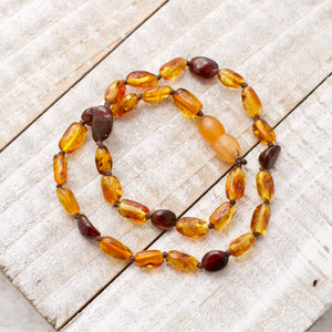 January Birthstone Necklace | Amber and Garnet Necklace | Amber Teething Necklace