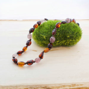 Amber Teething Necklace | Black Cherry + Cognac + Strawberry Quartz