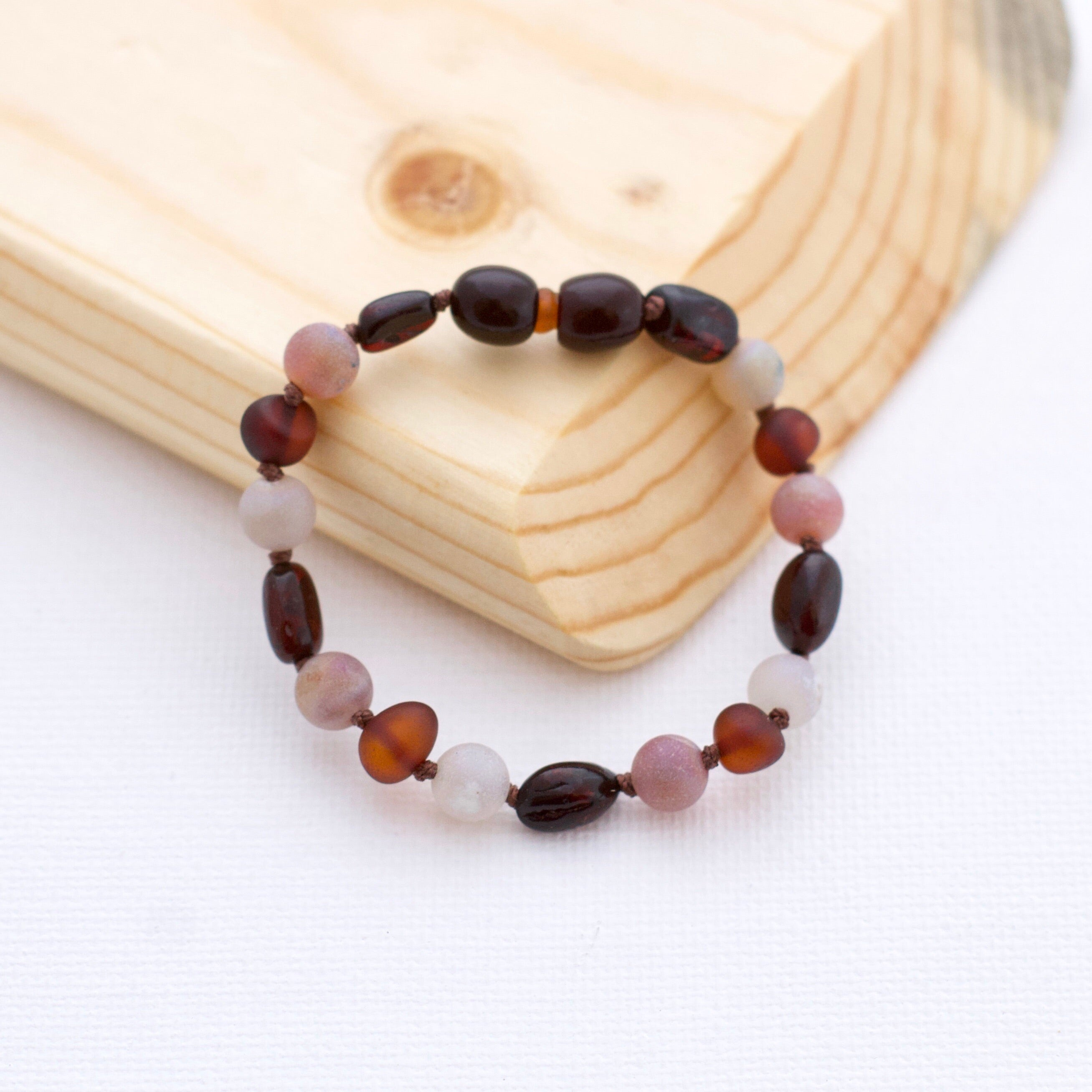 Amber Teething Bracelet | Black Cherry + Red Cherry + Aurora Luster Druzy