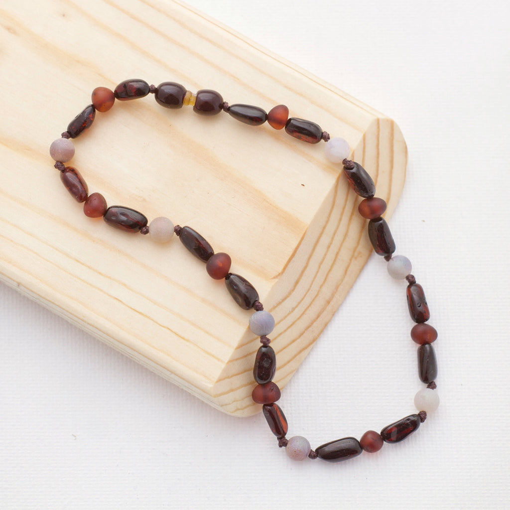 Amber Teething Necklace | Black Cherry + Red Cherry + Aurora Luster Druzy