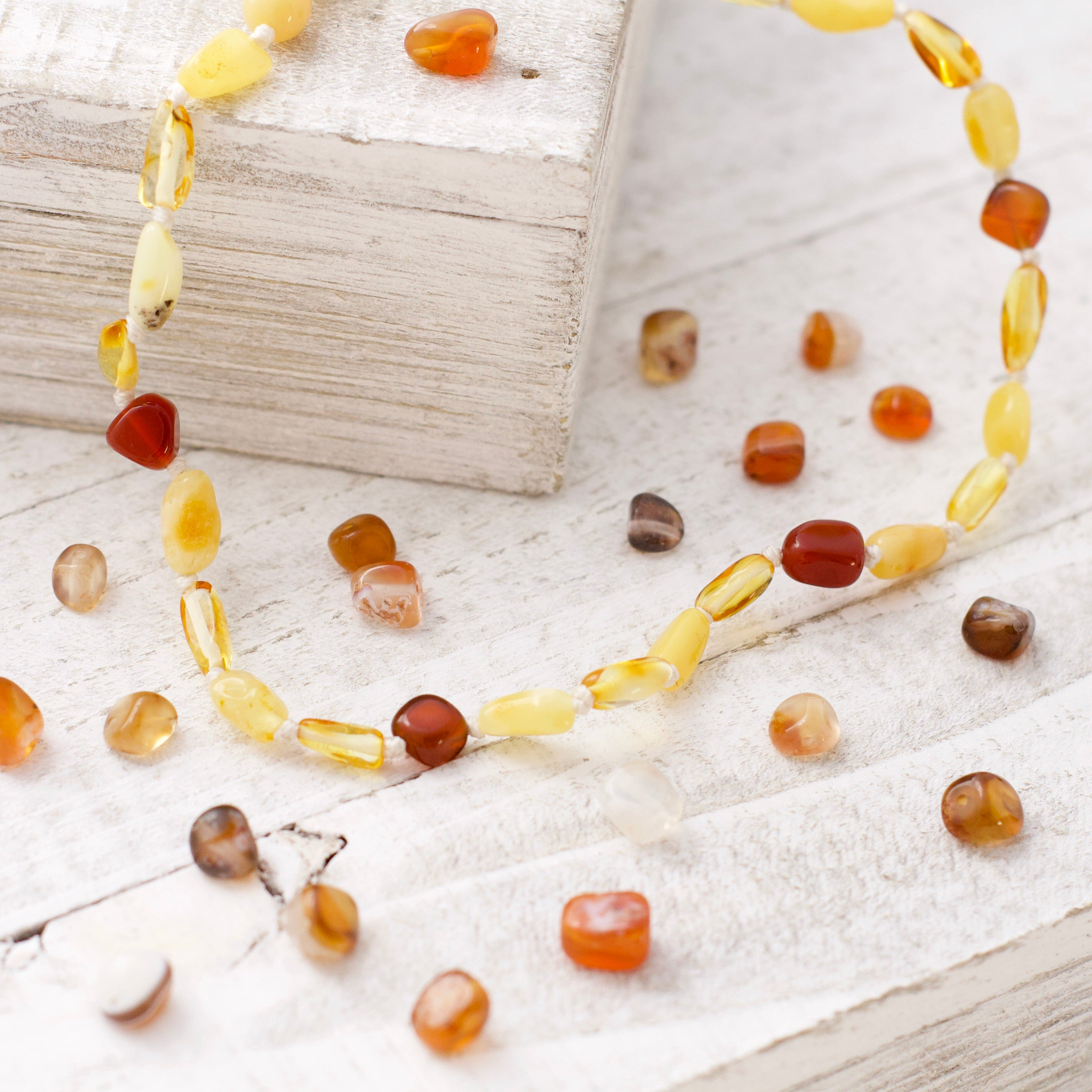 July Birthstone Necklace | Amber and Carnelian Necklace | Amber Necklace