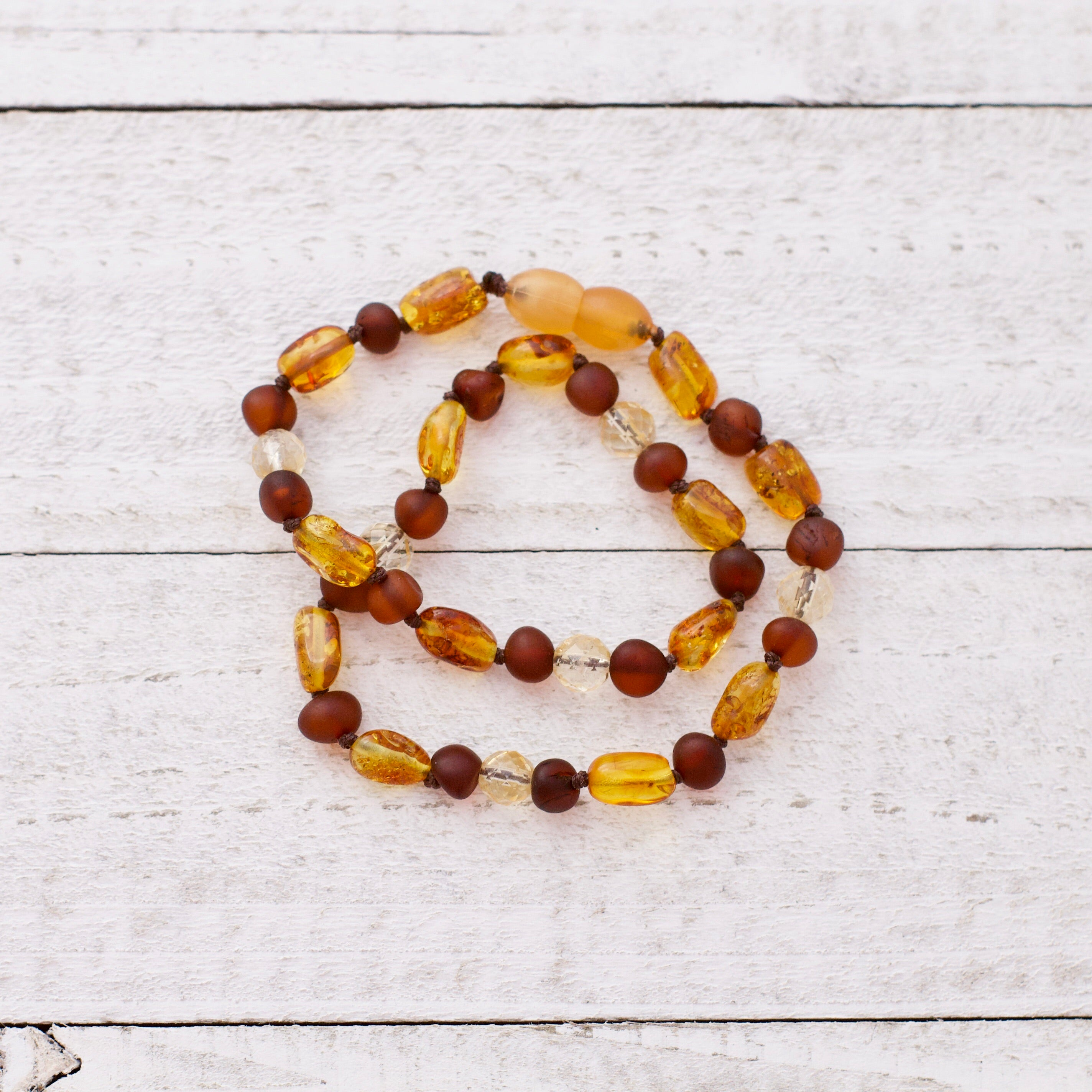 November Birthstone Necklace | Amber and Citrine Necklace | Amber Teething Necklace