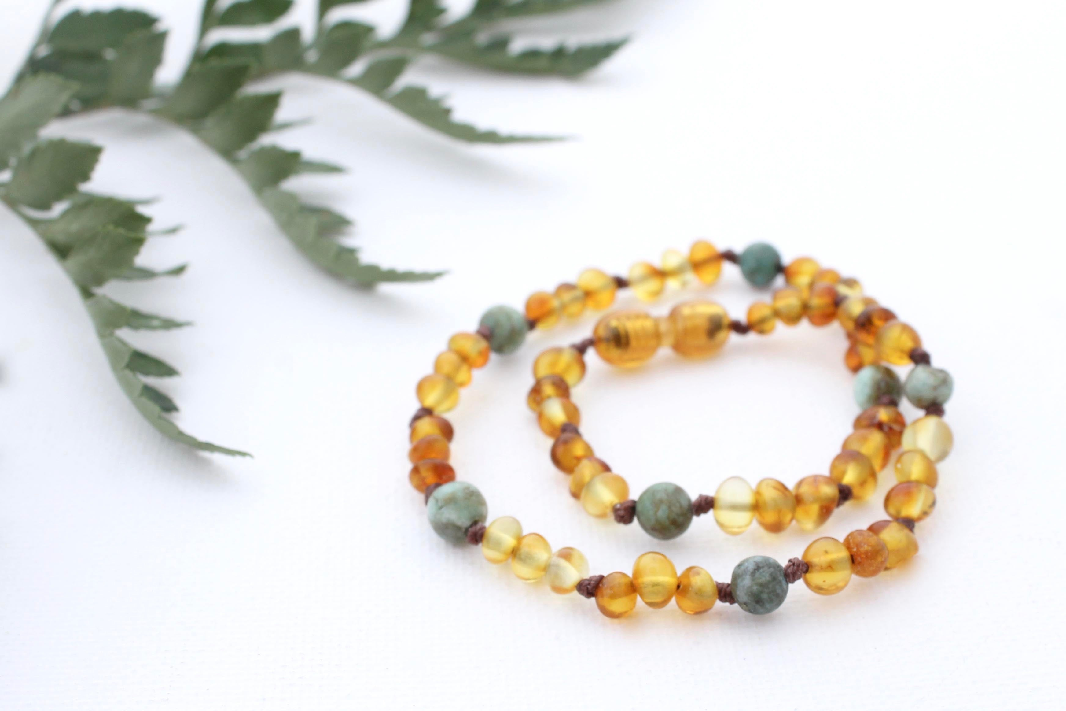 Frosted Honey Amber Necklace + African Jasper