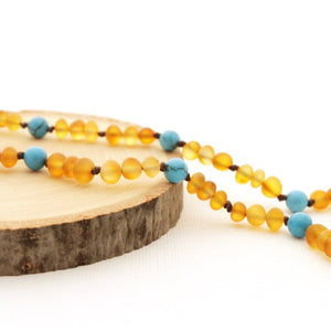 Breastfeeding Necklace | Sensory Necklace | Frosted Amber with Turquoise