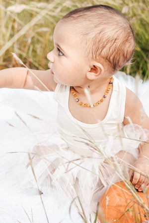 February Birthstone Necklace | Amber and Amethyst Necklace | Baltic Amber Teething Necklace