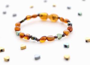 Cognac Amber Bracelet | Sweetheart Collection | 3 Heart Colors Available