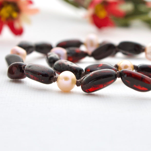 Cherry Amber + Rose Pearls | Adult Amber Necklace 1