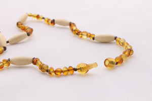 Adult Amber Necklace | Frosted Honey Amber + Natural Wood Beads