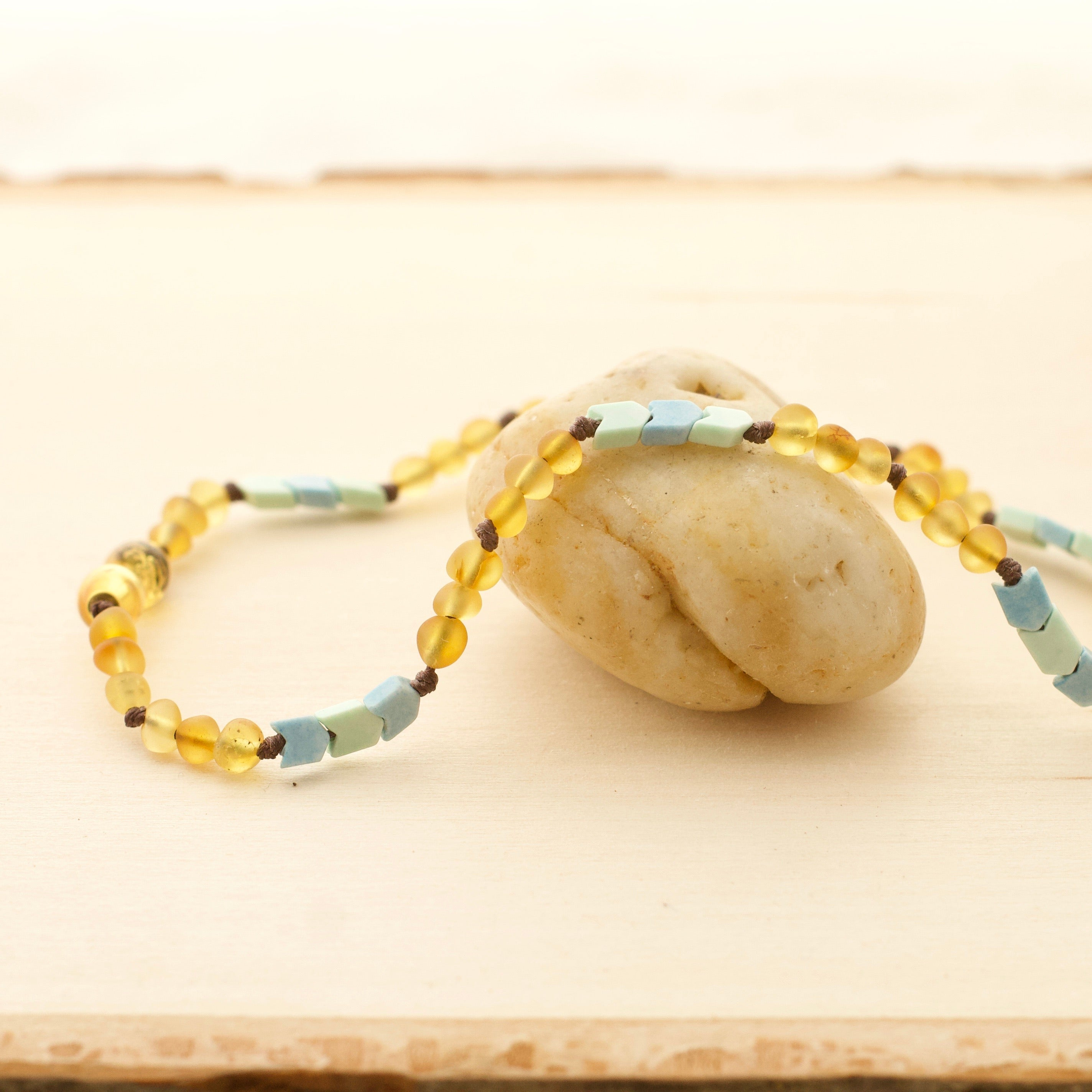 Chevron Mint Green & Denim Blue Agate + Frosted Honey Amber Necklac