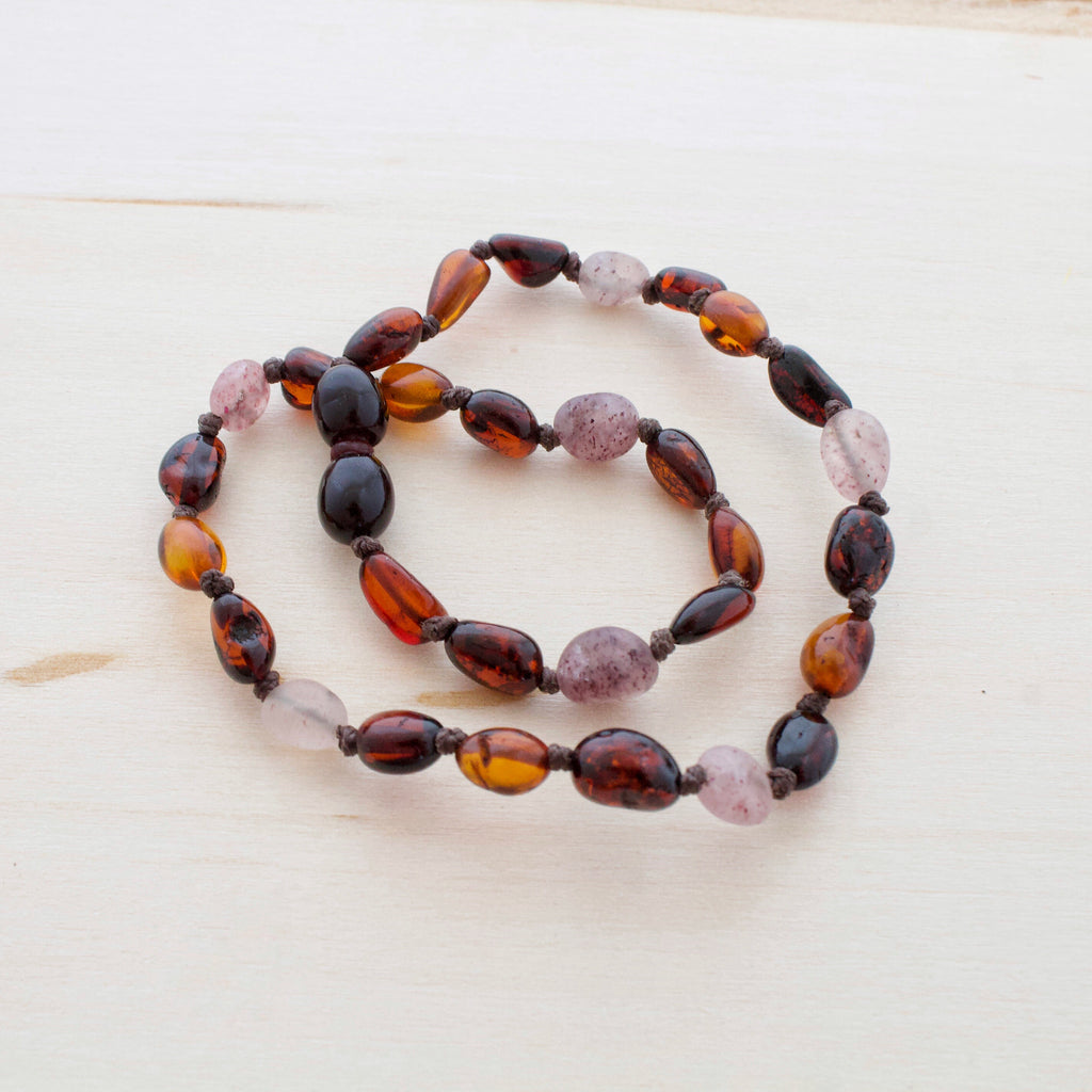 Amber Teething Necklace | Red Cherry + Cognac + Strawberry Quartz