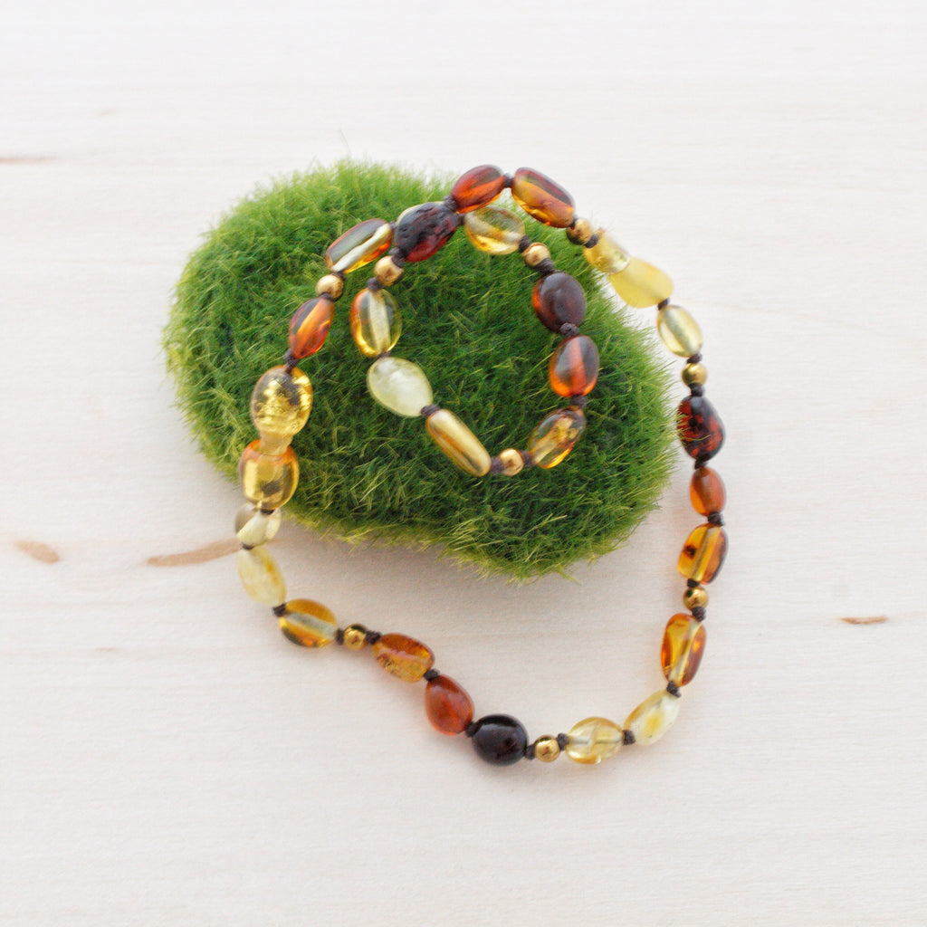 Baltic Amber Teething Necklace | Rainbow Amber + Gold Hematite