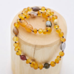 Frosted Honey Amber Necklace + Ocean Jasper