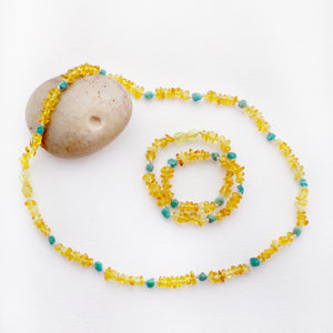 Mommy and Me Matching Amber Necklace Set | Lemon Amber with Amazonite