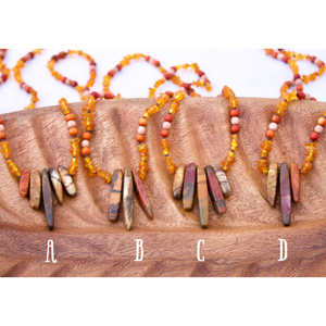 Raw Honey Amber + Redwood & Rosewood + Red Creek Jasper Stick Pendant Sensory Necklace