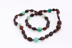 Cherry Amber Teething Necklace + Green Striped Agate