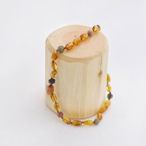 Amber Teething Necklace | Dark Honey + Black Tourmaline