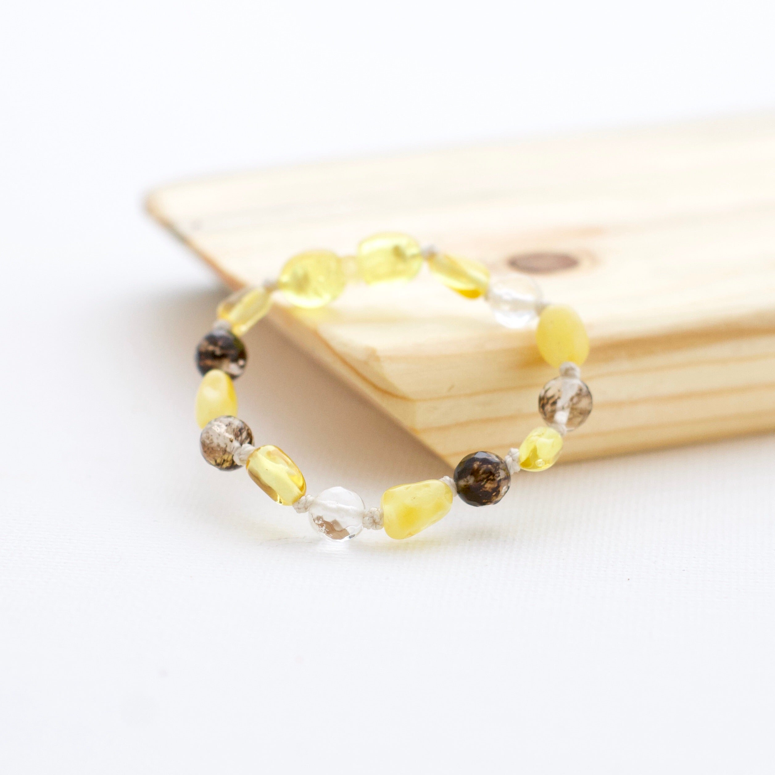 Baltic Amber Teething Bracelet | Lemon Amber + Butter Amber + Black Cherry Quartz
