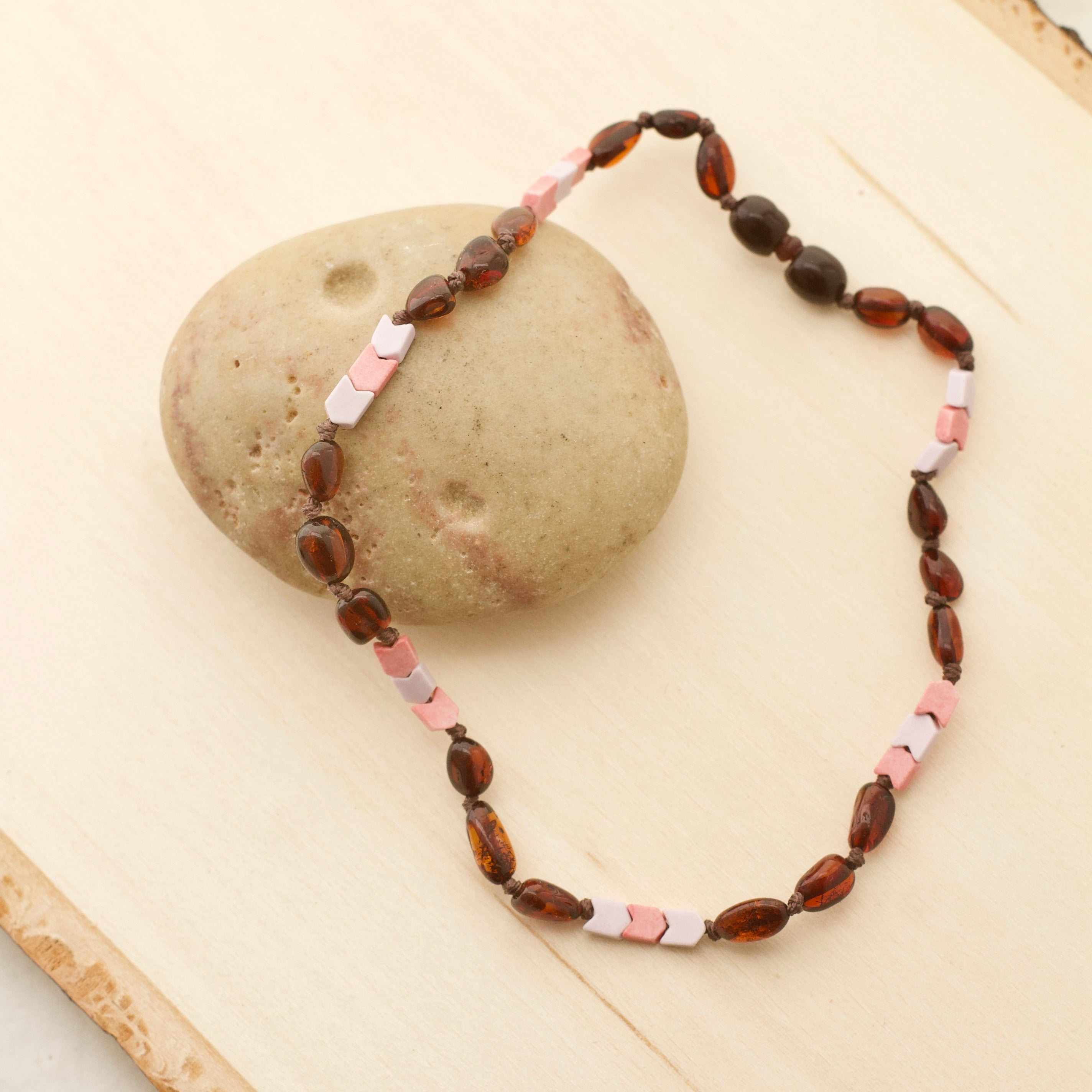 Chevron Rose & Lavender Agate + Cherry Amber Necklace