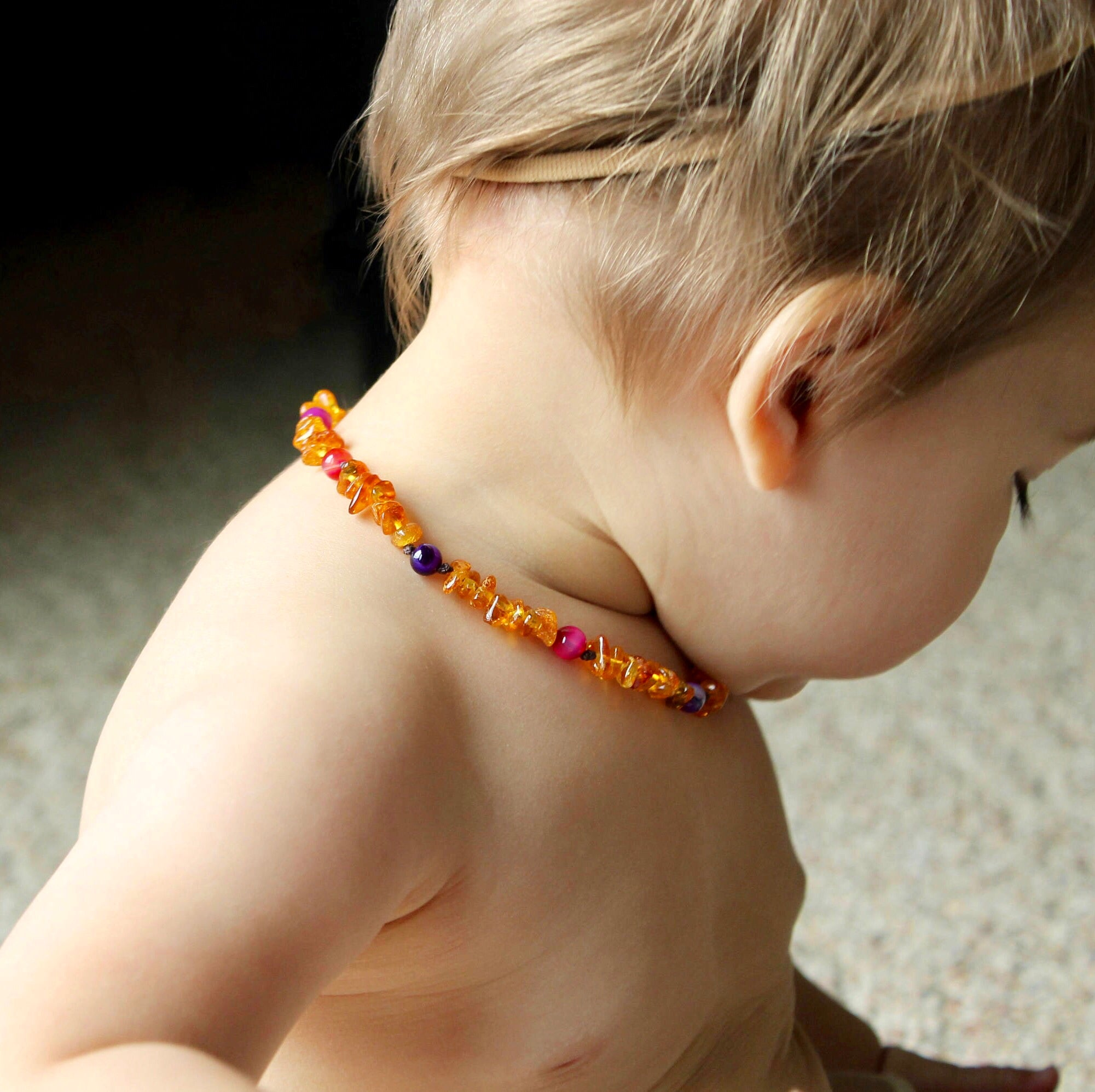 Honey Baltic Amber Teething Necklace with Pink and Purple Agate