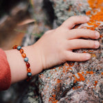 Baltic Amber Teething Bracelet | Cognac Amber + Metallic Waters Druzy