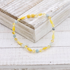 March Birthstone Necklace | Amber and Aquamarine Necklace | Baltic Amber Necklace
