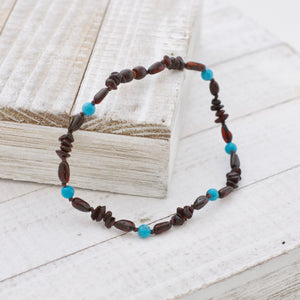 December Birthstone Necklace | Amber and Turquoise Necklace | Baltic Amber Teething Necklace