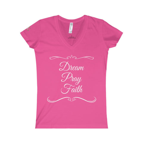 Dream Pray Faith - Women's Fine Jersey V-neck Tee