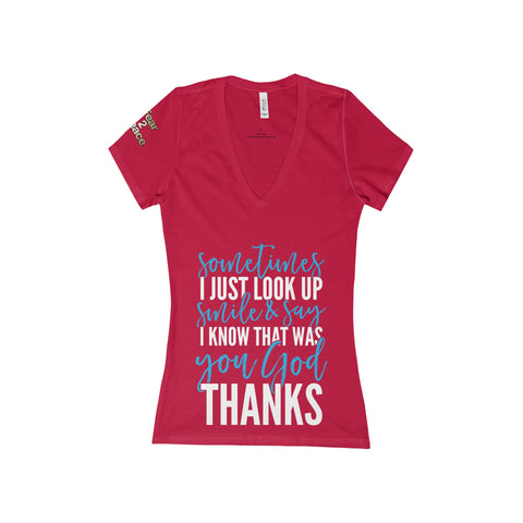 I Know That Was You, God Women's Deep V-Neck Jersey Tee